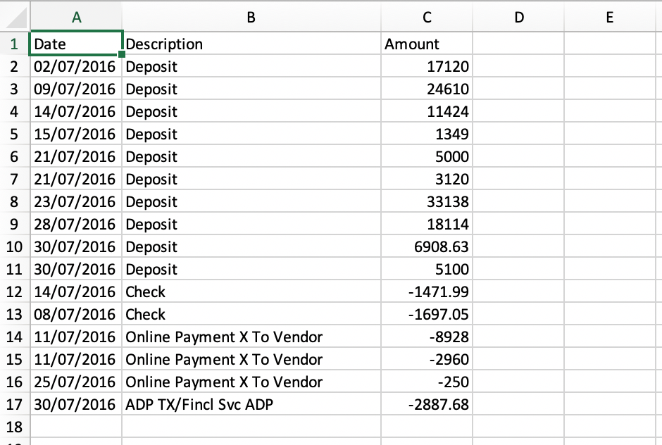 imported csv into excel successfully