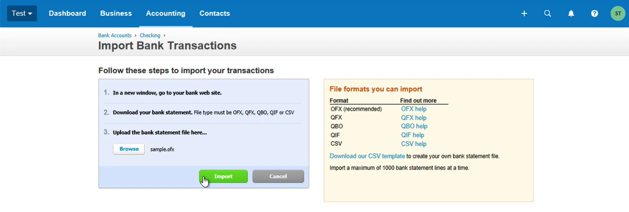 imported ofx into xero successfully