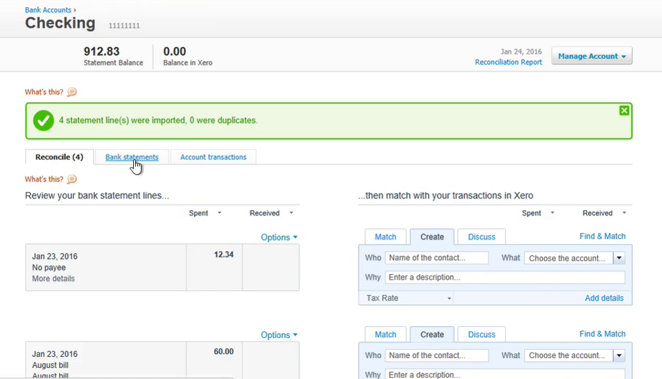 review transactions imported into xero