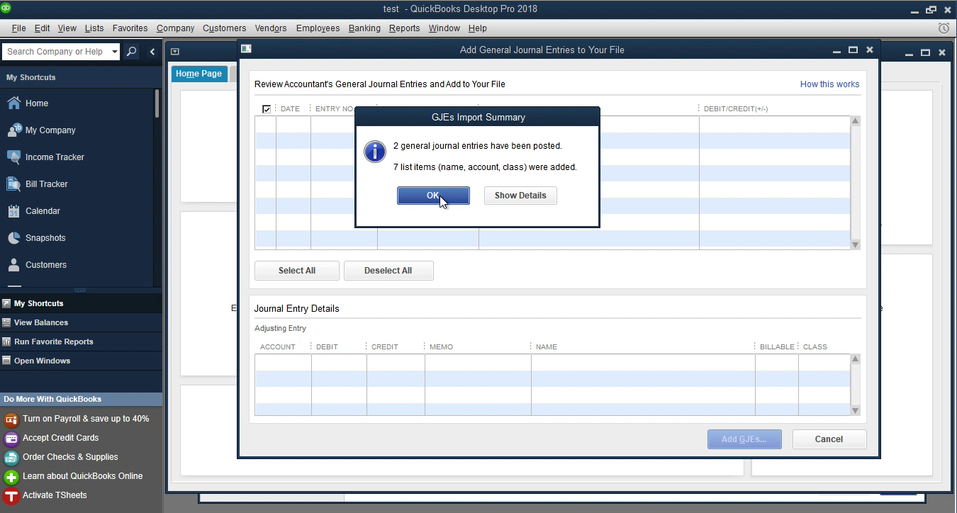 review transactions imported into quickbooks