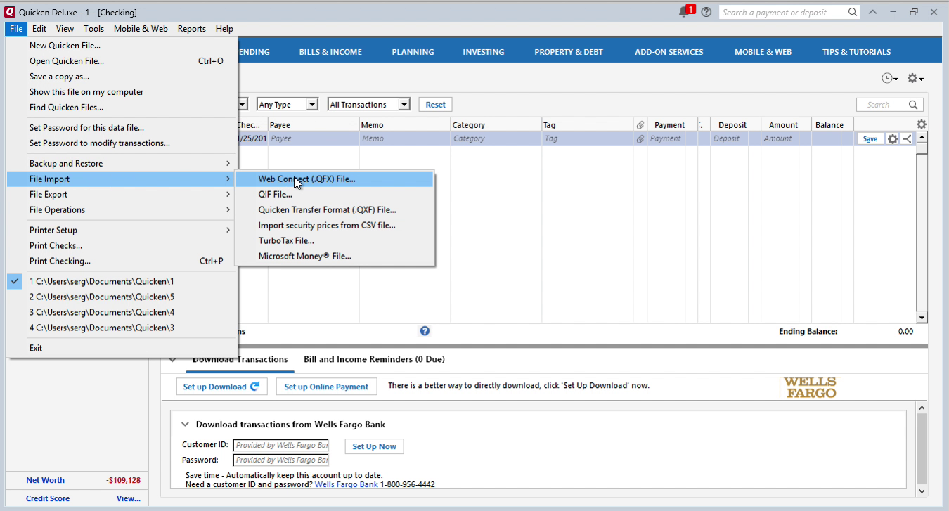 imported qfx into quicken successfully