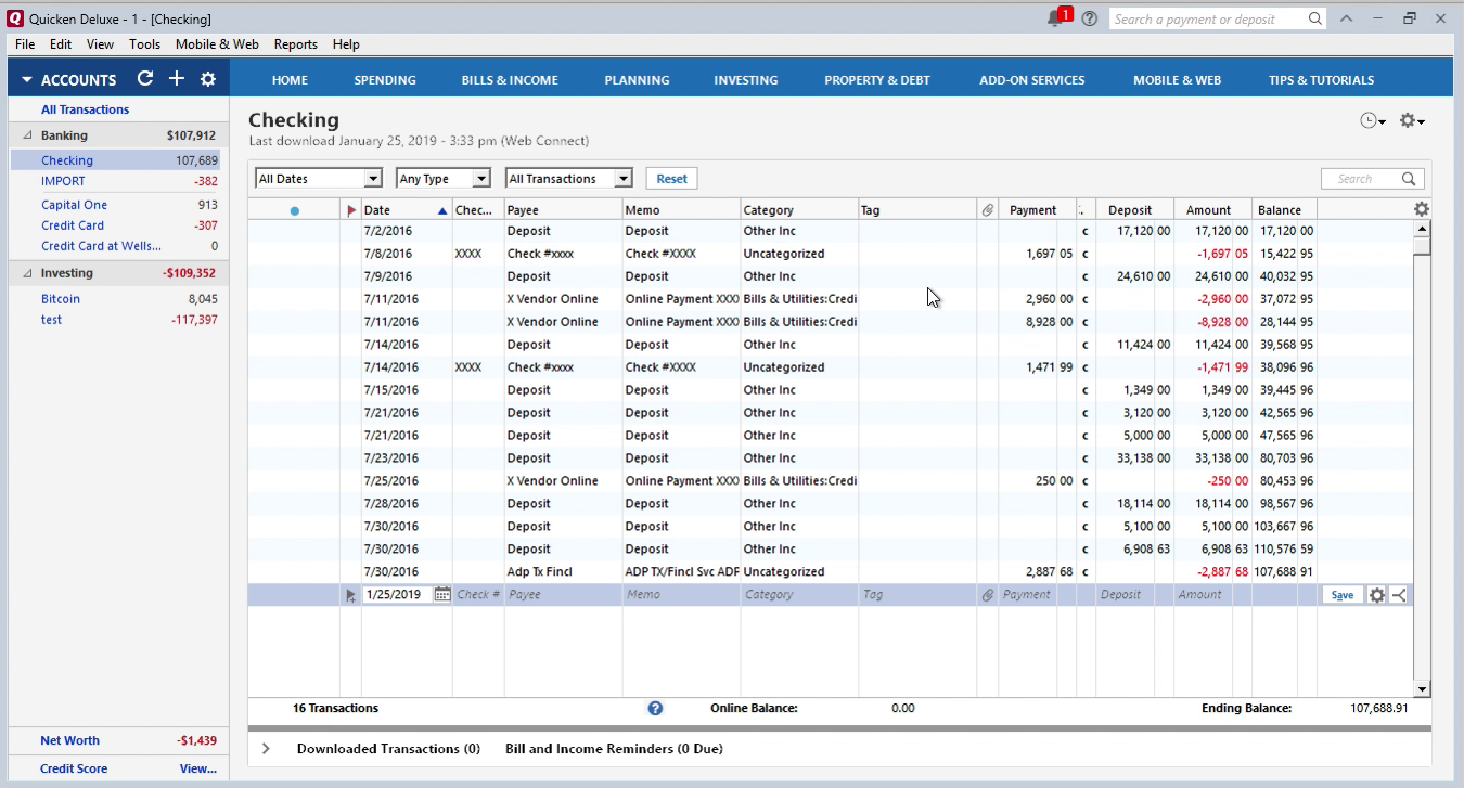 review transactions imported into quicken